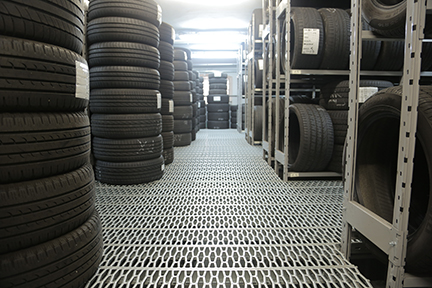 stacks of tires indoors