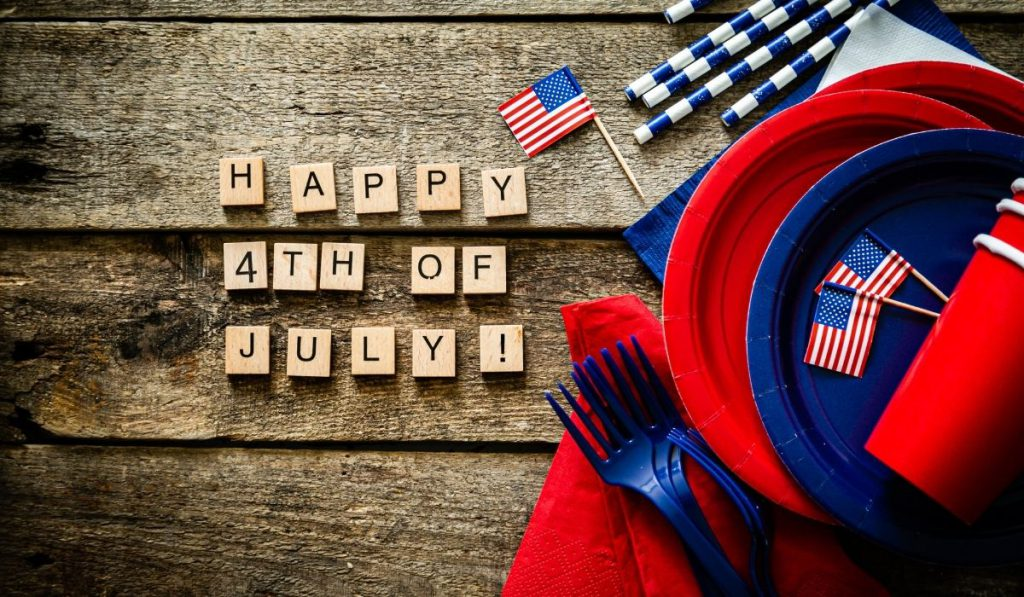 red, blue and white paper plates, forks, straws - 4th of July