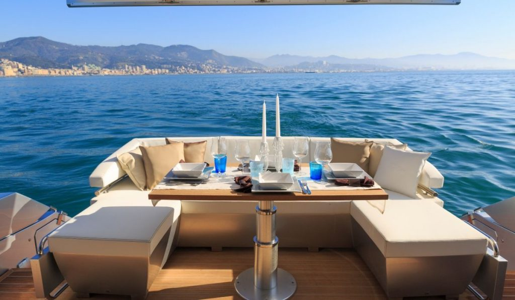 table setting in a beautiful yacht
